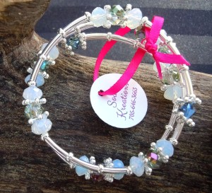 Crystal Memory Wire Bracelet #3